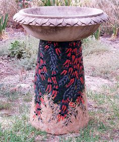 Sturt Desert Pea Mosaic Birdbath 2 by Smashing Mosaics, via Flickr