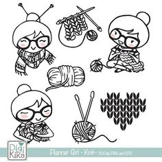 This hand drawn Planner Girl Knit Stamp Clipart its perfect you want to create anything for scrapbook, card design, invitation making, planner stickers, jewelry, paper crafts, web design, party supplies, invitations, party tags, invites, cupcake toppers, and a lot more. 7 High Resolution 300