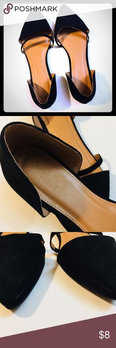 """🖤 BUY 1 get 1 -  1/2 PRICE!! 🖤 These faux suede flats rock classic d'Orsay style, with a curved heel cup and a sleek pointed toe! An additional strap at the vamp adds a trendy update. Style: ELANZA  Lightly cushioned insole Non-skid felted sole Brand: Charlotte Russe Product Fit: Shaft: 2.75""""  Heel: 0.25"""" Product Care: All man made materials / imported  These are GUC except a few light scuffs (see pictures), they could more than likely be buffed out. Please look at the pictures carefully…"""