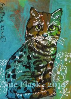 ACEO 2014 New Original Acrylic Painting Miniature Art - Blue Cat ii by Sue Flask