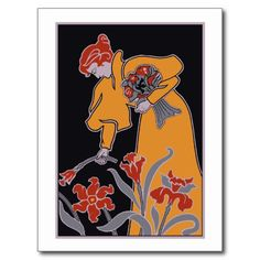 Modern Art Nouveau, woman picking flowers Postcards (and posters, greeting  cards, key chains, t-shirts, fridge magnets)