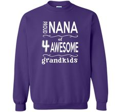 Mothers Day Gift T-Shirt Nana of Four Awesome Grandkids Tee