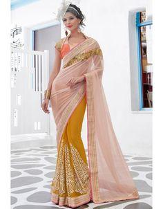 Majestic Mustard Yellow and Blush Pink #Saree