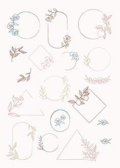 Botanical frame element vector collection premium image by Bullet Journal Notes, Bullet Journal Aesthetic, Bullet Journal Frames, Doodles, Floral Logo, Bullet Journal Inspiration, Doodle Art, Brand Logo Design, Design Design