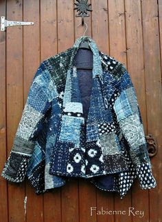 Fabienne Dorsman-Rey Boro jacket made from vintage indigo woven fabrics, mostly vintage, coton, hemp and ramie, with recycled silk kimono lining form Japan as lining Boro Stitching, Quilted Clothes, Sashiko Embroidery, Japanese Embroidery, Machine Embroidery, Embroidery Stitches, Japanese Textiles, Recycled Denim, Embroidery Fashion