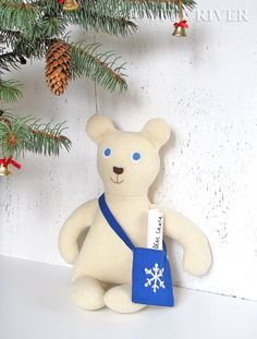 Santa's postman  Polar Bear  is ready to bring all the letters to Santa Claus.