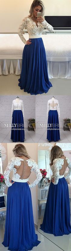 Long Prom Dresses with Sleeves,Modest Formal Evening Dresses V-neck,A-line Military Ball Dresses Lace,Chiffon Wedding Party Dresses Long Sleeve #MillyBridal #promdresses #lacedress #partydress