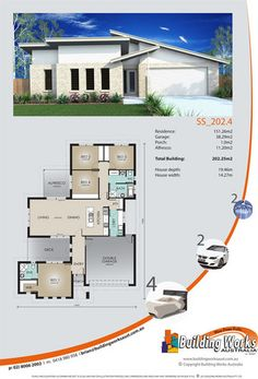 Single storey home number SS_202_4 - 4 bedrooms, 2 bathrooms, 2 car garage www.buildingworksaustralia.com.au #sydneybuilder