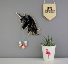 Not a Jewellery Box Unicorn Jewellery And Necklace Hanger Black Or Mirror