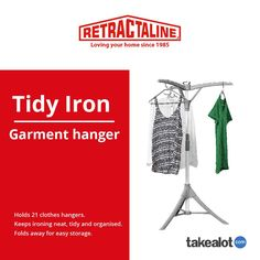 Make a breeze with the tidy iron. Organising up to 21 it's a must have at Click below for more information. Plastic Components, How To Iron Clothes, Clothes Hangers, Love Your Home, Neat And Tidy, Organising, Breeze, Organization, Organisation