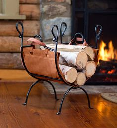 Our folding log rack comes with leather firewood sling for easy hauling and fireside storage. Easy cary firewood sling is the perfect hearthside firewood rack. Firewood Holder Indoor, Indoor Log Holder, Indoor Log Storage, Firewood Rack Plans, Firewood Basket, Outdoor Fireplace Plans, Fireplace Tool Set, Fireplace Design, Firewood Carrier