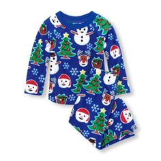 4d38a16d88 Unisex Baby And Toddler Long Sleeve Christmas Print Top And Pants Glacier  Fleece Pj Set Long