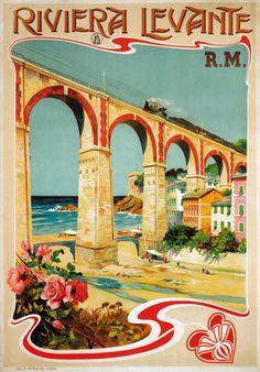 Vintage Riviera Levante Italy Italian Railway Travel Poster #beach #essenzadiriviera