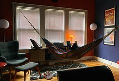 ITAP of my daughter reading with my phone and pixlr. We have hammocks in our living room! Living Room Hammock, Hammock In Bedroom, Dream Apartment, Apartment Living, Apartment Ideas, Haus Am See, Meditation Room Decor, Uni Life, Library Room