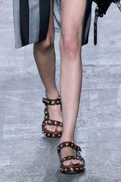 Studded brown sandals at Alexander Wang spring '16 New York Fashion Week runway show.