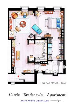 Incredibly Detailed Floor Plans Of The Most Famous TV Show Homes Carrie Bradshaws Studio Apartment this is perfect to live for one or two.Carrie Bradshaws Studio Apartment this is perfect to live for one or two. Apartamento Carrie Bradshaw, Carrie Bradshaw Apartment, Apartment Layout, Dream Apartment, Apartment Living, Apartment Funny, Single Apartment, Friends Apartment, Apartment Design