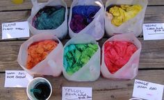 Hand-dyed Quilting Cottons: great use of old milk containers via Flickr
