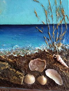 """TITLE: Vacation Paradise MEDIUM: Acrylic, mixed DIMENSIONS: 9x12"""" Painted sides, framing is not necessary. Layer by layer, I created a unique texture. Beautiful waves of ... #art #seascape"""