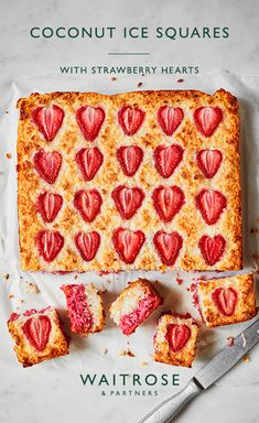 Soft sponge layers of strawberry and desiccated coconut, topped with fresh strawberry slices and sprinkled with sugar. Tip: wipe the knife clean between each cut of this cake to give more uniform squares. Tap for the full Waitrose & Partners recipe. Tray Bake Recipes, Baking Recipes, Dessert Recipes, Waitrose Food, Delicious Desserts, Yummy Food, Tray Bakes, No Bake Cake, Eat Cake