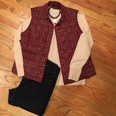 Faconnable plaid vest Nordstrom brand Faconnable plaid lightweight vest. It has buttons not snaps, and a cute little pocket detail. It's maroon with navy and cream stripes. Timeless. It's too big unfortunately. Faconnable/Nordstrom Jackets & Coats Vests