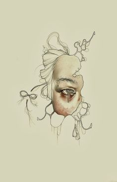 Illustration by Haejung Lee Kunst Inspo, Art Inspo, Art And Illustration, Kunst Online, A Level Art, Wow Art, Portrait Art, Portraits, Dark Art