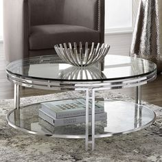 Found it at AllModern - Andros Coffee Table Silver Coffee Table, Round Coffee Table Modern, Round Glass Coffee Table, Mirrored Coffee Tables, Coffee And End Tables, Contemporary Coffee Table, Coffee Table Design, Glass Table, Steel Table