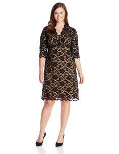 979d0b96843 Karen Kane Women s Plus Size Dresses Sexy Black and Nude Scallop Lace Dress