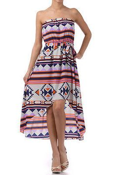 Dress Hi Low Hem Aztec Indian Tribal Strapless S M L Tie Waist Tube Summer Print