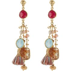 Gas Bijoux 24kt Gold Plated Chandelier Earrings ($185) ❤ liked on Polyvore featuring jewelry, earrings, multicolor, tassel earrings, chandelier earrings, multicolor earrings, long earrings and chandelier jewelry