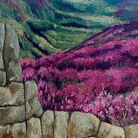 Stone Wall with Field Mural - Balcony. Hand painted on textured exterior balcony wall. Painted for Paint a Lifestyle. Stucco Exterior, Stucco Walls, Wall Murals, Wall Art, Mural Painting, Balcony, Hand Painted, Play, Stone