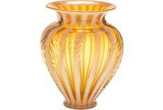 Orange and white Fenton glass vase