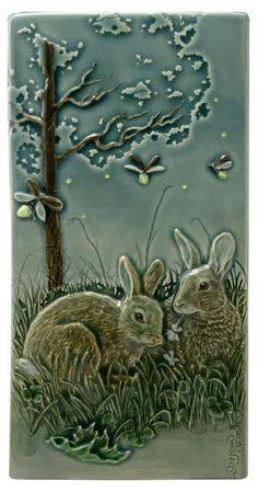 Ceramic Wall Art, Wall Tile, Rabbit Art, Ceramic Animals, Woodland Creatures, Handmade Art, Handmade Gifts, Decoration, Framed Art