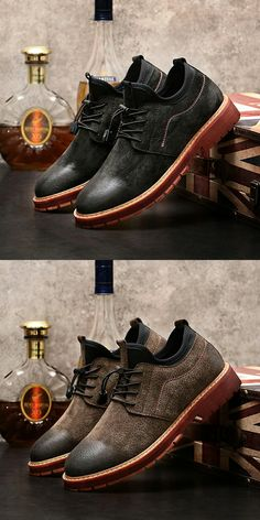 US $29.48 <Click to buy> Prelesty Cow Leather Men Lace Up Ankle Cowboy Shoes