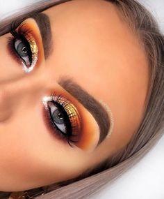 Fall eye makeup, orange eye makeup, fall makeup looks, pretty m Makeup Eye Looks, Cute Makeup, Gorgeous Makeup, Skin Makeup, Makeup Brushes, Sleek Makeup, Cheap Makeup, Creative Eye Makeup, Colorful Eye Makeup