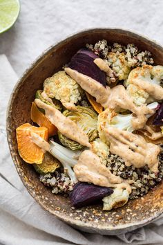 Roasted Vegetable and Quinoa Bowl with Coconut-Almond Sauce (gluten-free) | saltedplains.com