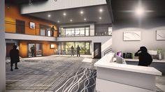 Conceptual Lobby Design for Ashley Ridge Church - Summerville, SC //  Design and Rendering by Equip Studio (www.equipstudio.com