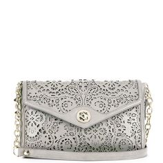 Janie Laser Cut Clutch in grey.they're doing incredible things with leather. Estilo Fashion, Ankle Strap Heels, Clutch Purse, Lace Purse, Beautiful Bags, Beautiful Shoes, Swagg, Coach Purses, Coach Bags