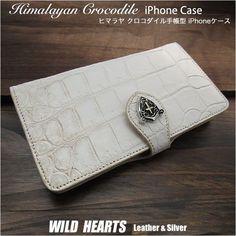 カスタマイズ 手帳型ケース です。仕様と鱗模様、コンチョをお選びいただけます。 Iphone Flip Case, Iphone Cases, Crocodile, Continental Wallet, Silver, Himalayan, Leather, Men, Crocodiles