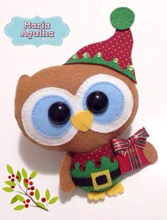 Molde coruja/corujinha duende enfeite de natal em feltro ; own  christmas felt 2