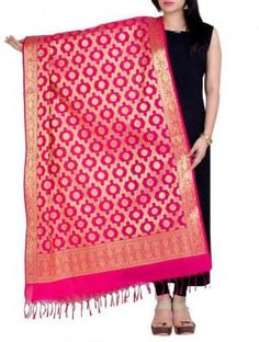 Pink art silk banarasi dupatta by chandrakala Indian Dresses, Indian Outfits, Everything Popular, Kids Gadgets, Travel Workout, Pink Art, Trouser Suits, Suits For Women