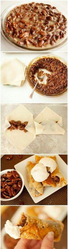 Pecan Pie Egg Rolls. A fun twist on 2 traditional recipes. yummy!