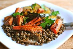 Indian-Spiced Roasted Vegetables Over Lentils. Have you fallen down yet?