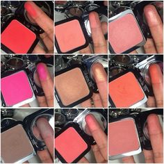 Swatches of some of NYX's new HD Blushes!!! Blushes pictured are Crimson, Pink The Town, Intuition, Double Dare, Electro, Beach Babe, Summer, Taupe, & Amber