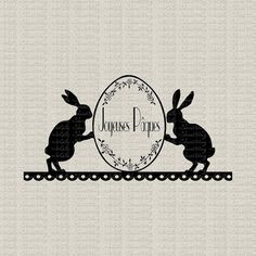 French Easter Bunnies Joyeuses Paques Instant Digital Download Image Transfer Burlap Pillows Tea Towels Paper Crafts