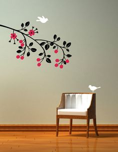 Modern Wall Decal Raspberry Branch. Birds and flowers removable decal stickers. $37.00, via Etsy.