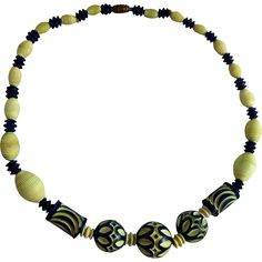 Art Deco Galalith Carved Bead Necklace