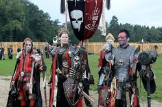 Igraina (Laird of Barrenbay) and retinue from Untotes Fleish (undead flesh) at ConQuest of Mythodea Conquest Of Mythodea, Undead Knight, Fantasy Costumes, Larp Costumes, Dystopia Rising, Larp Armor, Fantasy Images, Fantasy Armor, Fantasy Creatures
