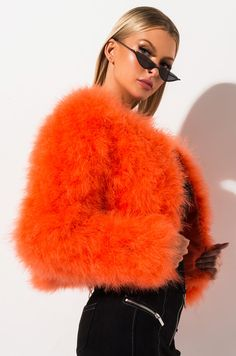 Long sleeve round neck feather jacket by AKIRA Feather Fashion, Fur Fashion, Party Fashion, Fashion Outfits, Fluffy Coat, Cute Coats, Faux Fur Jacket, Colorful Fashion, Orange Fashion