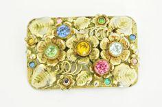 Vintage Neiger Czech Brass Flower Filigree Brooch | eBay