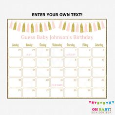 Baby Due Date Calendar Baby Shower Pink Gold Guess by OhBabyShower